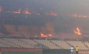 Arde el estadio Cibao; incendio destruye oficinas administrativas de las Aguilas Cibaeñas y caseta de transmisión