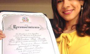 Ministerio de la Juventud otorga a Alesandrini Bonilla el premio Preservación y Fomento de los Recursos Naturales