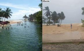 Banco de arena producido por huracán María hace desaparecer el río Arroyo Salado en Cabrera