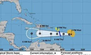Debilitada tormenta Isaac está a 815 km de Santo Domingo; 14 provincias en alerta